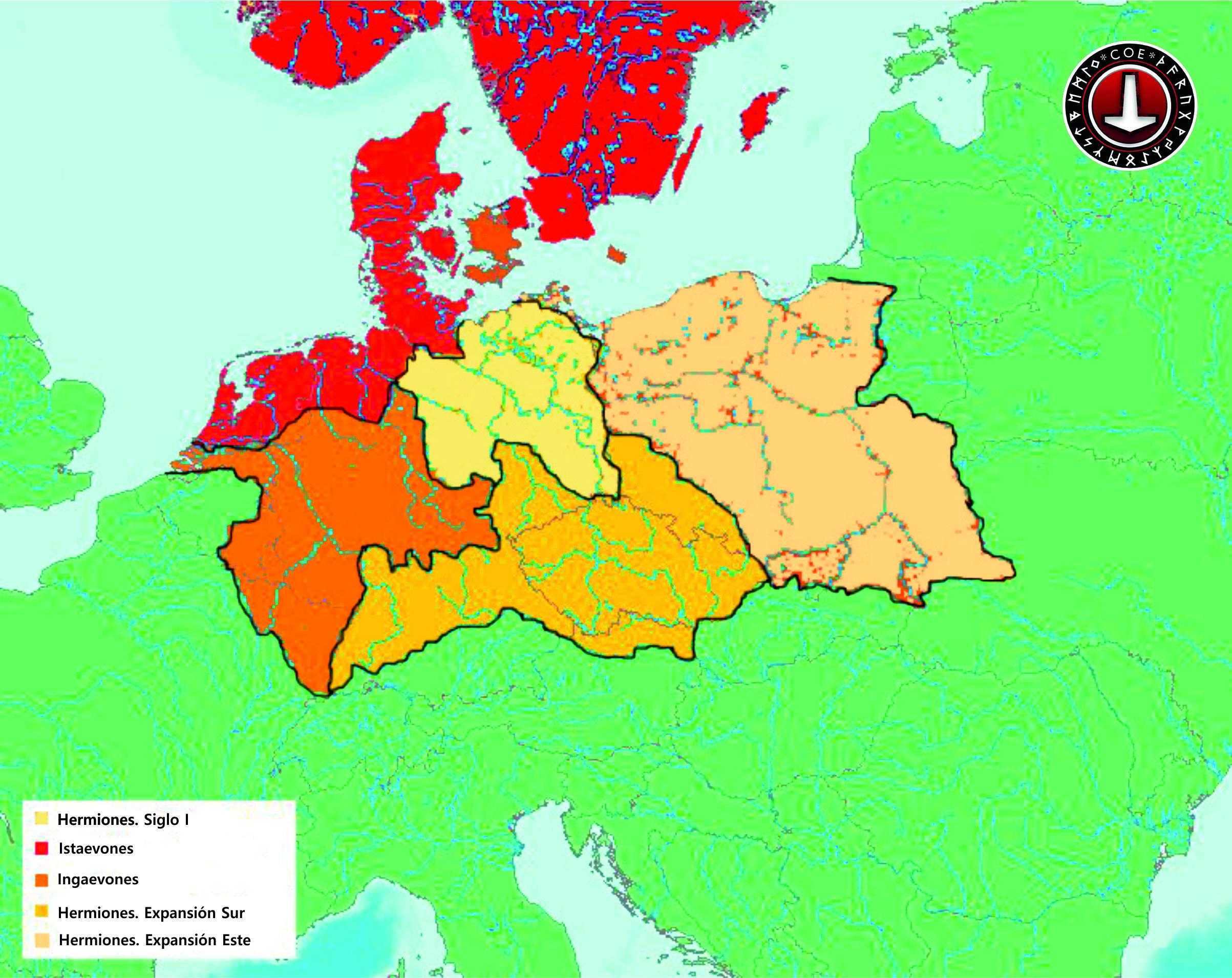 Este mapa muestra la ubicación aproximada de las principales tribus germánicas en Europa, como se menciona en el trabajo de Tácito, la Germania.