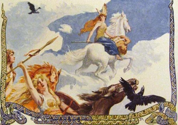 En el aire, entre las nubes y sobre un caballo blanco, una Valquiria cabalga con el cadáver de un hombre.